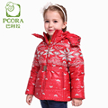 PCORA Winter Jacket for Girls Outwear Coat Children Clothing Winter Zip Detachable Cap and Belt Red