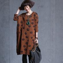 2016 vintage loose quality Simple medium-long Leisure dot sweater dress one-piece dress(China (Mainland))