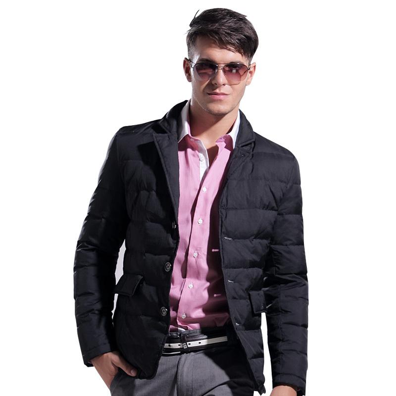LESMART Winter Men's Coat Jacket White Duck Solid Short Fashion Casual Business Suit Thicken Outdoors Parka Outerwear  -  Qingdao Lesmart Textile Co., ltd store