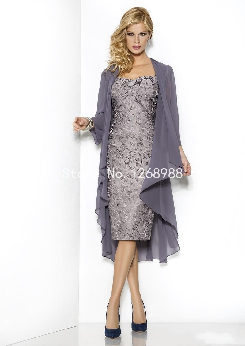 Mother Of The Bride Dress With Long Sleeve Jacket - Junoir ...