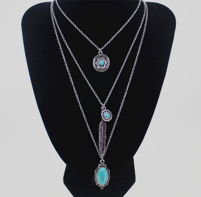 Bohemia Retro Multilayer Turquoise Feather Necklace Pendant Tassels Long Chain Sweater Decorated With Jewelry(China (Mainland))