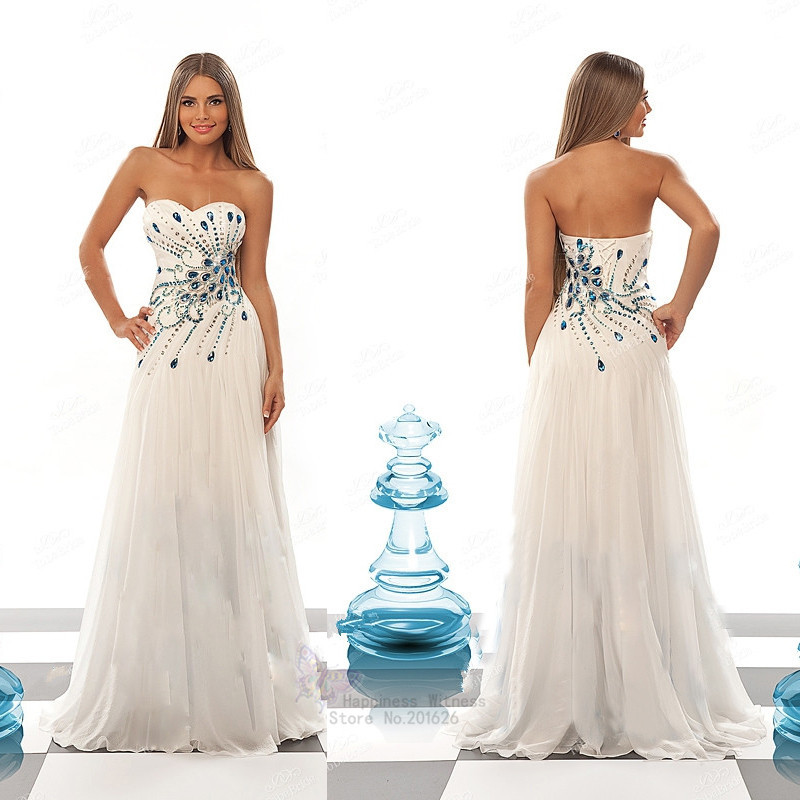 Custom made beach wedding dresses exquisite blue crystal for Blue beach wedding dresses