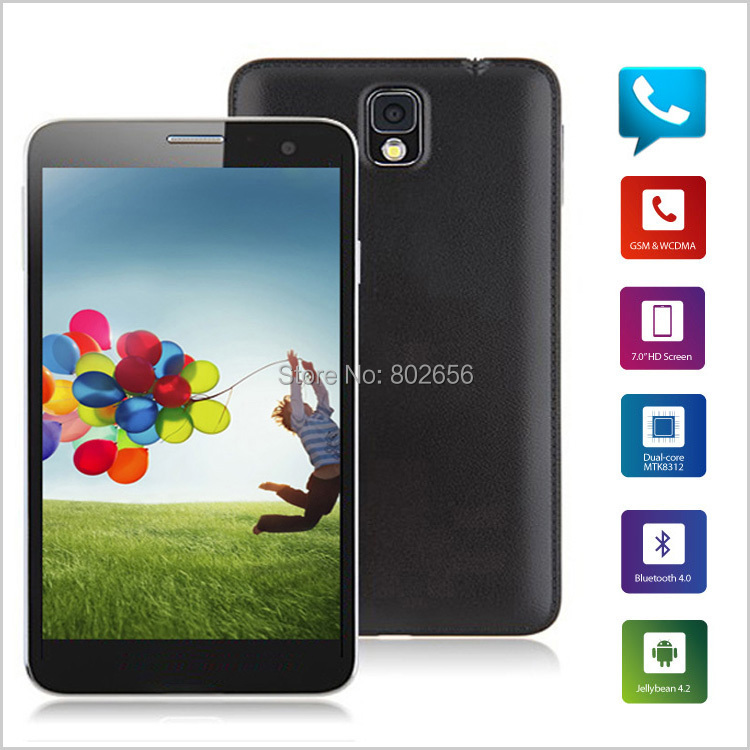 Free Shipping Dual SIM Slot 7 Inch 3G Cell Phone Tablet PC MTK8312 Dual Core Android 4.2 3G WCDMA 4GB ROM Bluetooth GPS WIFI(China (Mainland))