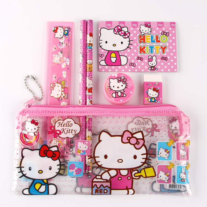 1 set hello kitty pencil case for kids sticker cute cartoon school supplies stationery kawaii pencil cases for girls gift(China (Mainland))