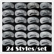 Eyebrow stencils 24 styles reusable eyebrow drawing guide card brow template DIY make up tools 204778 wholesales(24 styles/lot)(China (Mainland))