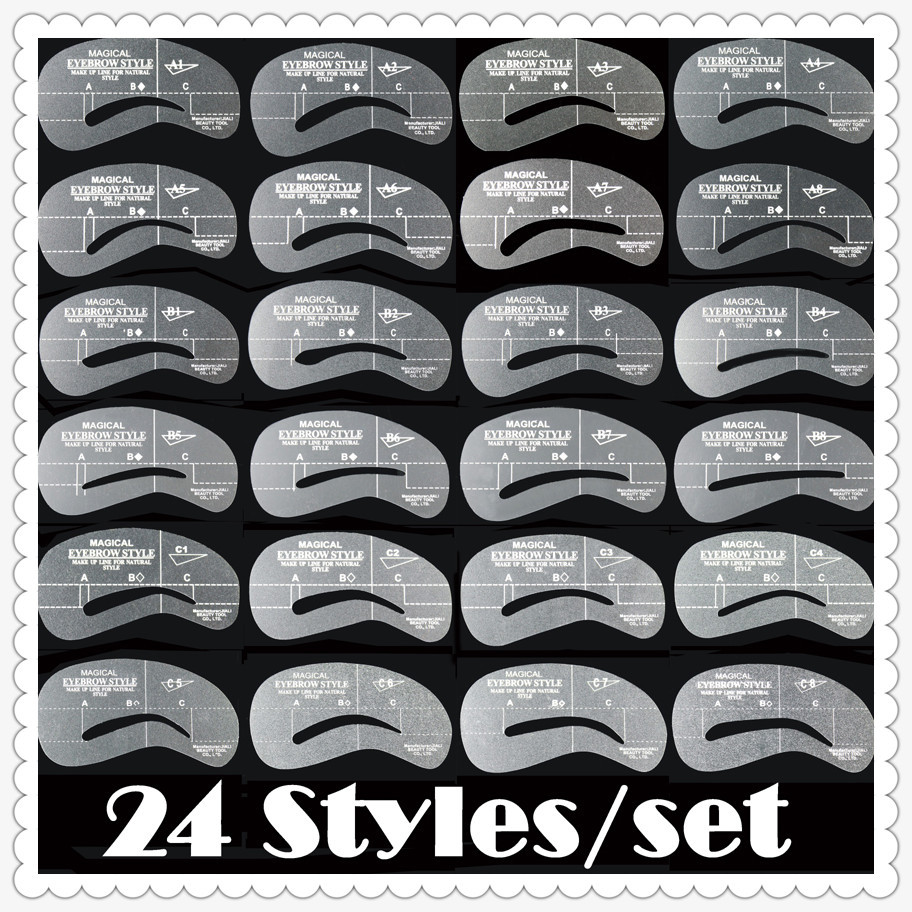 Eyebrow stencils 24 styles reusable eyebrow drawing guide card brow template DIY make up tools204778 24