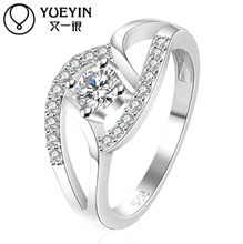 Ms. ring crossed 925silver fingers compatible with Pandora CZ paving deluxe hot princess married women Engagement Ring Jewelry(China (Mainland))