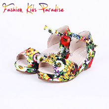 2015 Summer Children Sandals Girls Shoes Floral Print Fashion Baby Girls Sandals Brand New Children Shoes Kids Sandals for Girl