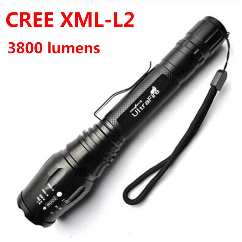 Buy Led flashlight CREE XM L2 T6 ultra light upgrade 20% ...