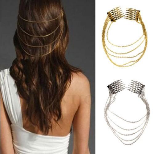 1 x Fashion Punk Hair Cuff Pin Clip 2 Combs Tassels Chains Head Band Silver/Gold Fashion Wedding Hair Jewelry Free(China (Mainland))