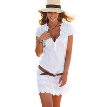 Buy 2017 Summer Fashion Women White Lace Dress Short Sleeve Sexy V Neck Casual Slim Party Short Mini Dresses Beach Sundress Vestidos for $7.14 in AliExpress store
