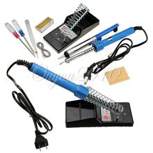 Electric Soldering Starter Tool Kit Set With Iron Stand Desoldering Pump  Including 9 Accessories Free Shipping(China (Mainland))