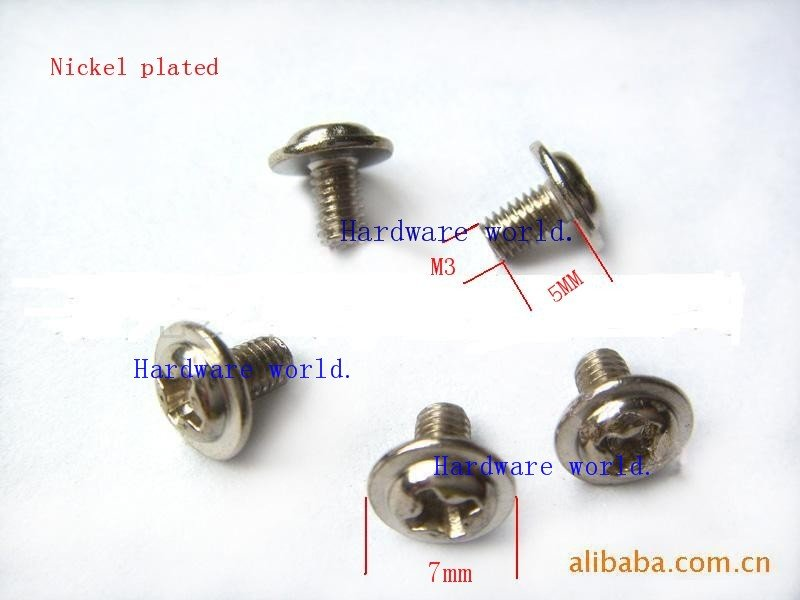 M3*5*500PCS mainboard screw,computor screw(BOLT),cross with washer round head machine screw<br><br>Aliexpress