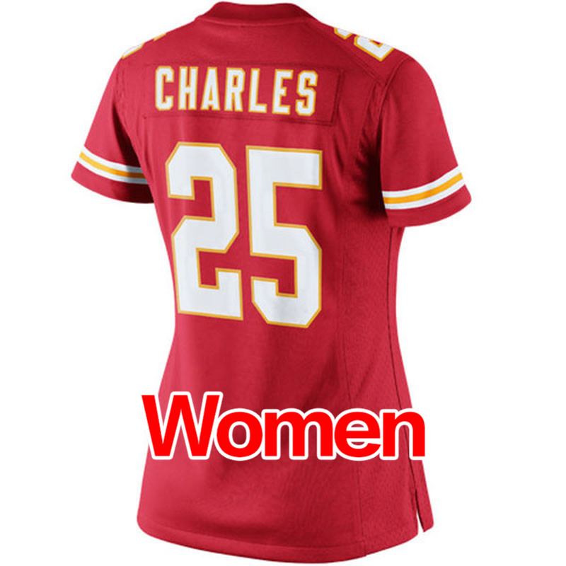 cheap hot sale Women's #25 Jamaal Charles #11 Alex Smith Ladies Light Red Game 100% Stitched Logos Free shipping(China (Mainland))
