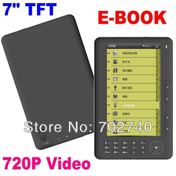 2015 New 7in Colour Screen eBook Tablet Book ebook PDF MP3 MP4 Player 4 GB ebook Reader Free Shipping(China (Mainland))