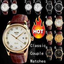 Parejas hombres clásicos relojes moda de mujeres de moda reloj moda genuinos marca de cuero del cuarzo resistentes al agua reloj