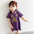 Free shipping 2016 summer New girls cartoon giraffe print dress Girls asymmetric dress