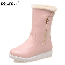 Buy Gladiator Snow Boots Half Short Flats Boot Warm Thickened Fur Plush Winter Mid Calf Snow Boots Woman Shoes Size 34-40 for $26.88 in AliExpress store