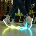lights up led luminous Men shoes high top glowing casual shoes with new simulation sole charge