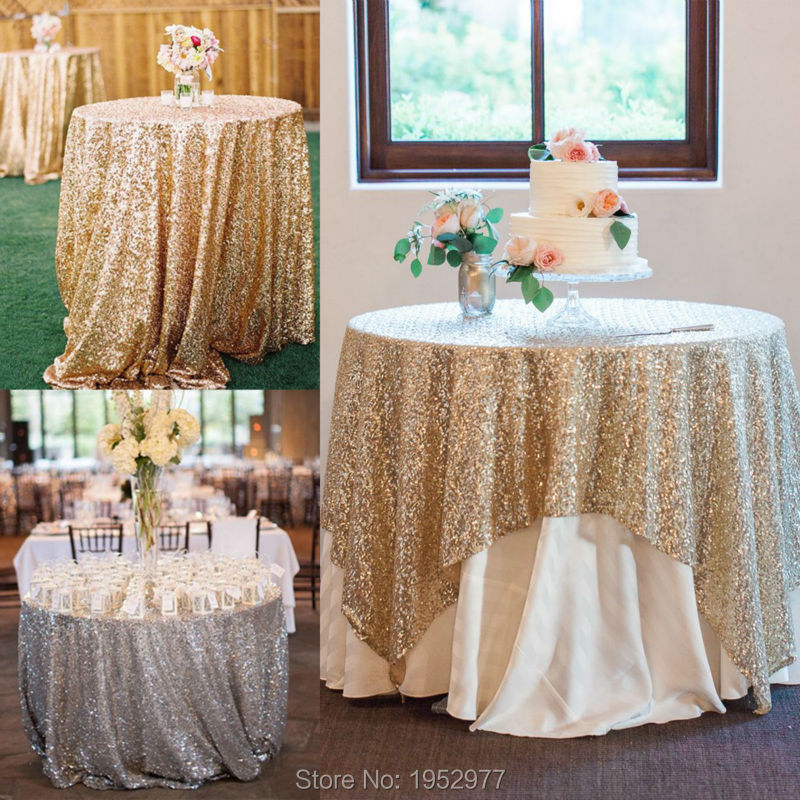 "free shipping Sparkly Gold/Silver 40''x59"" Sequin Glamorous Tablecloth/Fabric For Wedding Party Event Table Decorations(China (Mainland))"