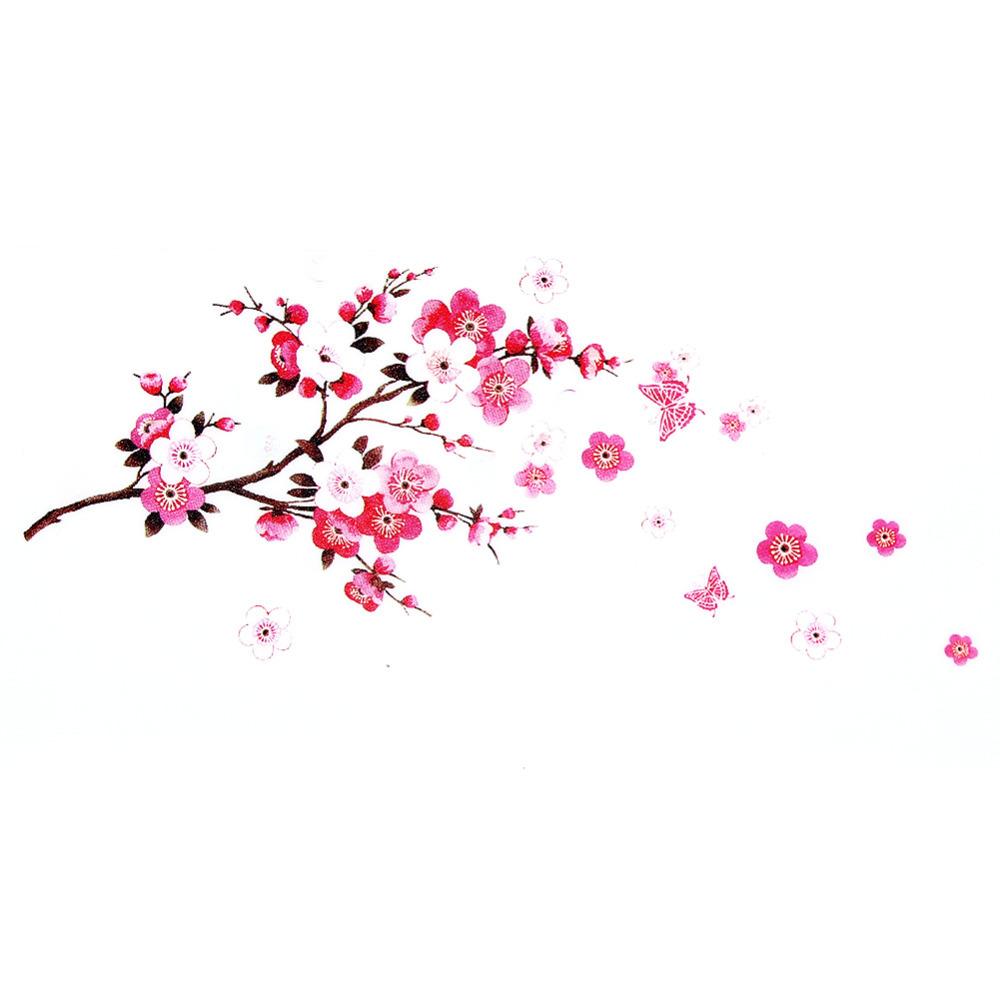 New Fashion Sakura Flower Bedroom Room Vinyl Decal Art DIY Home Decor Wall Sticker Removable Transparent Poster Wallpaper(China (Mainland))