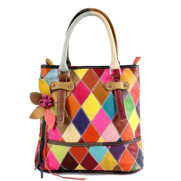 Colorful Handmade Genuine Leather Handbags, Women Messenger Bags, Patchwork Handbags, Fashion Winter Leather Bags A45/br красочн
