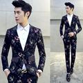 2PC Jacket Pant Costume Homme Suit Men Latest Coat Pant Designs Men Floral Blazer Set Fashion