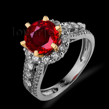 Elegant Solid 18Kt Two Tone Gold Genuine Natural Diamond Blood Ruby Engagement Ring