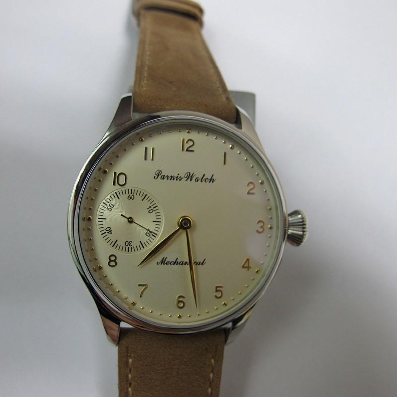 Новый 44 мм Парнис Рука Обмотки Механические мужские Часы Светло-Желтый Циферблат Наручные Часы