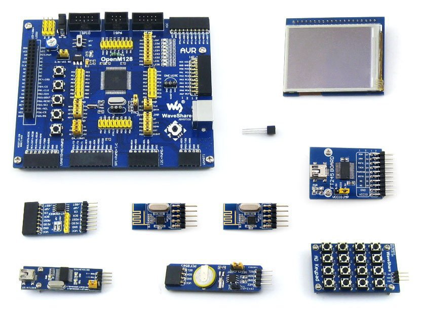 ATMEL AVR Development Board ATmega128A-AU 8-bit RISC AVR ATmega128 Development Board Kit+ 9 Accessory Kits =OpenM128 Package A(China (Mainland))