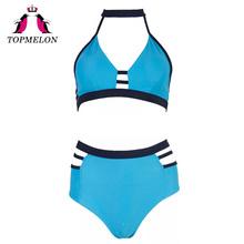 Topmelon Bikini Swimwear Women Tankini Sport Straps Sexy Bikini 2017 Necklace Beachwear High Waist Sexy Women Popular Bikini Set(China (Mainland))
