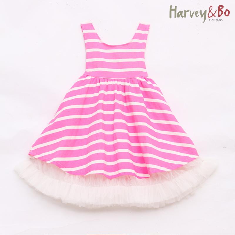 Harvey&Bo summer kids girls korean cotton princess dresses children clothes girl vest dress striped cute bow dresses(China (Mainland))