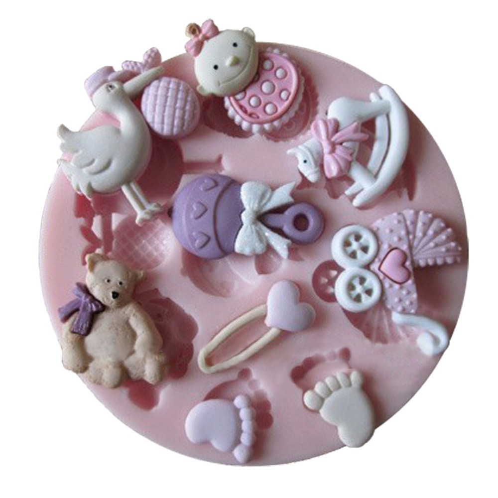 Baby Shower Party 3D Silicone Fondant Mold For Cake Decorating -C092(China (Mainland))