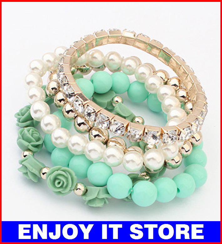 FJ011 Trendy Fashion Candy Color Pearl Rose Flower Multilayer Charm Bracelet Bangle For Women Fashion Jewelry(China (Mainland))
