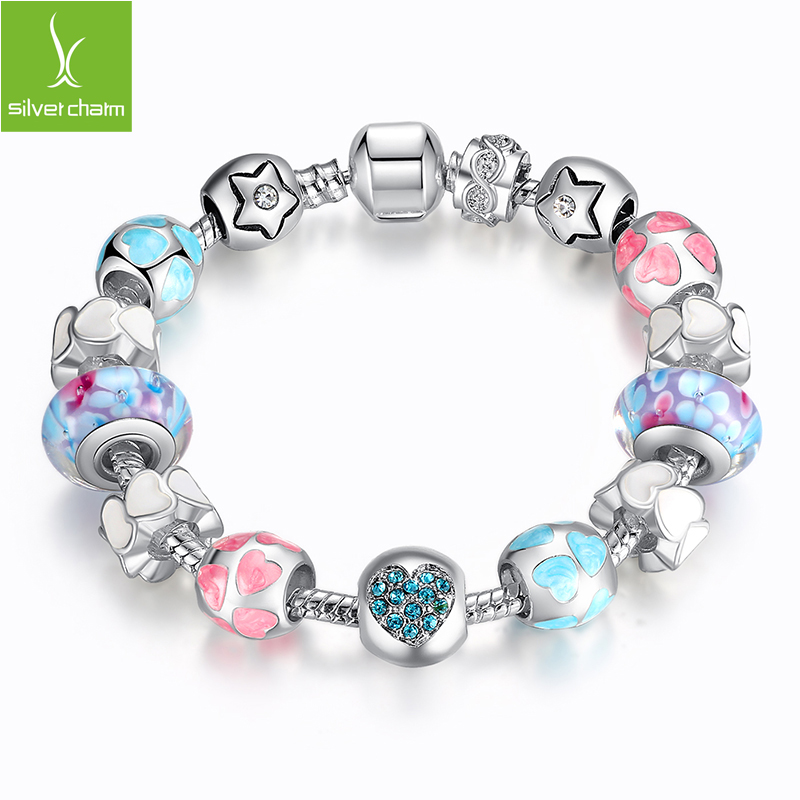 European Style Romantic Silver 925 Heart Charm Murano Beads Bracelet for Women Fit Original Pandora Bracelets Brand DIY Jewelry<br><br>Aliexpress