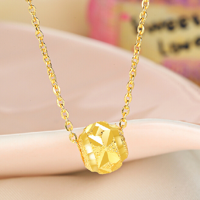 Authentic 24k Yellow Gold Necklace Pendant Carved Beads Pendant 0.84g