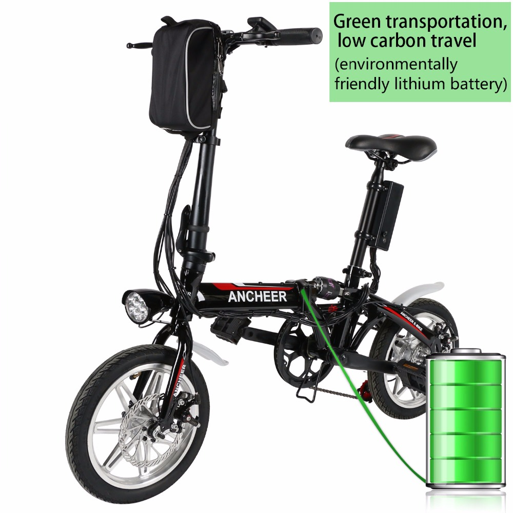 ANCHEER Mini 14 inch Foldable Electric Power Bike Bicycle with Lithium-Ion Battery Anti-shock Front Disc Brakes Electric Bike(China (Mainland))
