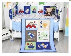hot sell 2014 New Blue Cars Airplan Boy Baby Crib Cot Bedding Set 5 items Including Comforter Bumper Fitted Sheet(China (Mainland))