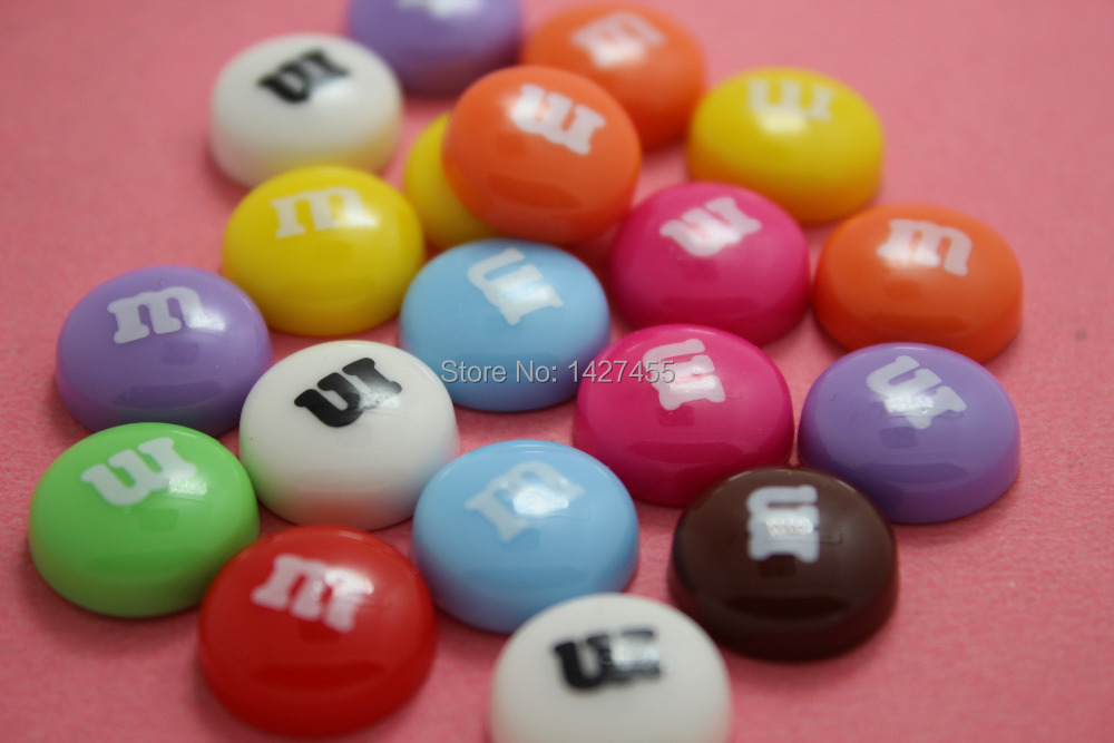 free shipping 25 pieces Resin Letter M Candy Cabochons Cute Colorful Round Candies Fake Food Sweets Decoden 14mm(China (Mainland))