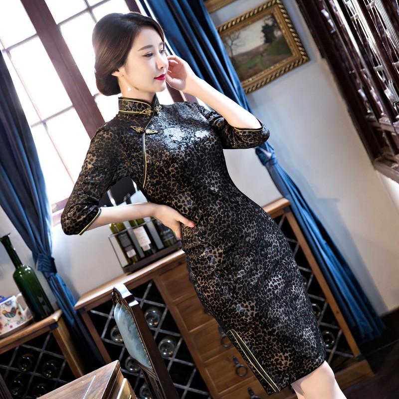 ใหม่สีดำวินเทจสตรีกำมะหยี่สั้นCheongsamแฟชั่นสไตล์จีนชุดที่สง่างามQipaoขนาดSml XL XXL XXXL F101030 ถูก