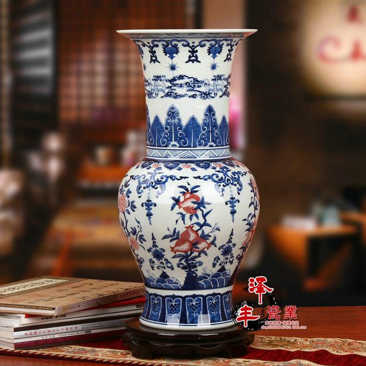 Imitation chinese Qing Dynasty Ancient Decoration home Porcelain Vase blue and white Ceramic vase Jingdezhen floor vase large(China (Mainland))