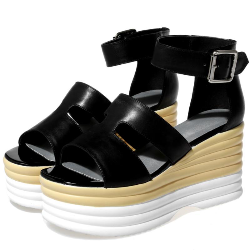 Full grain leather 8cm high platform heels sandals 2016 Fashion summer women cover heel trifle leisure sandals wedges shoes