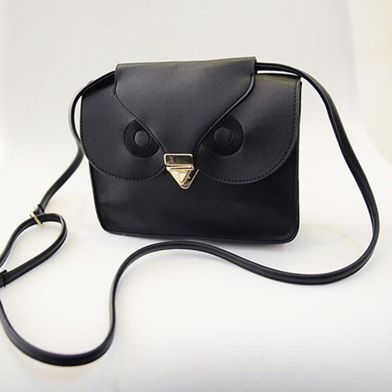 New quality PU leather fashion embroidery personality owl handbag mortise lock Faux Leather Mini Messenger bag(China (Mainland))