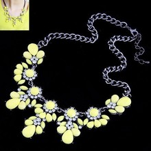 Min Order $10(mix order)Free Shipping! Fashion Jewelry sho rouk yellow excellent quality crystal gem necklace sweet flower chain