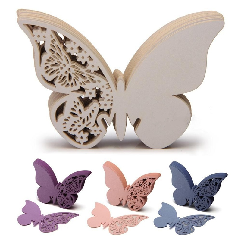 50 3D Butterfly Name Place Card Holder Wedding Party Favor Table Wine Glass Decoration Blue White Purple(China (Mainland))