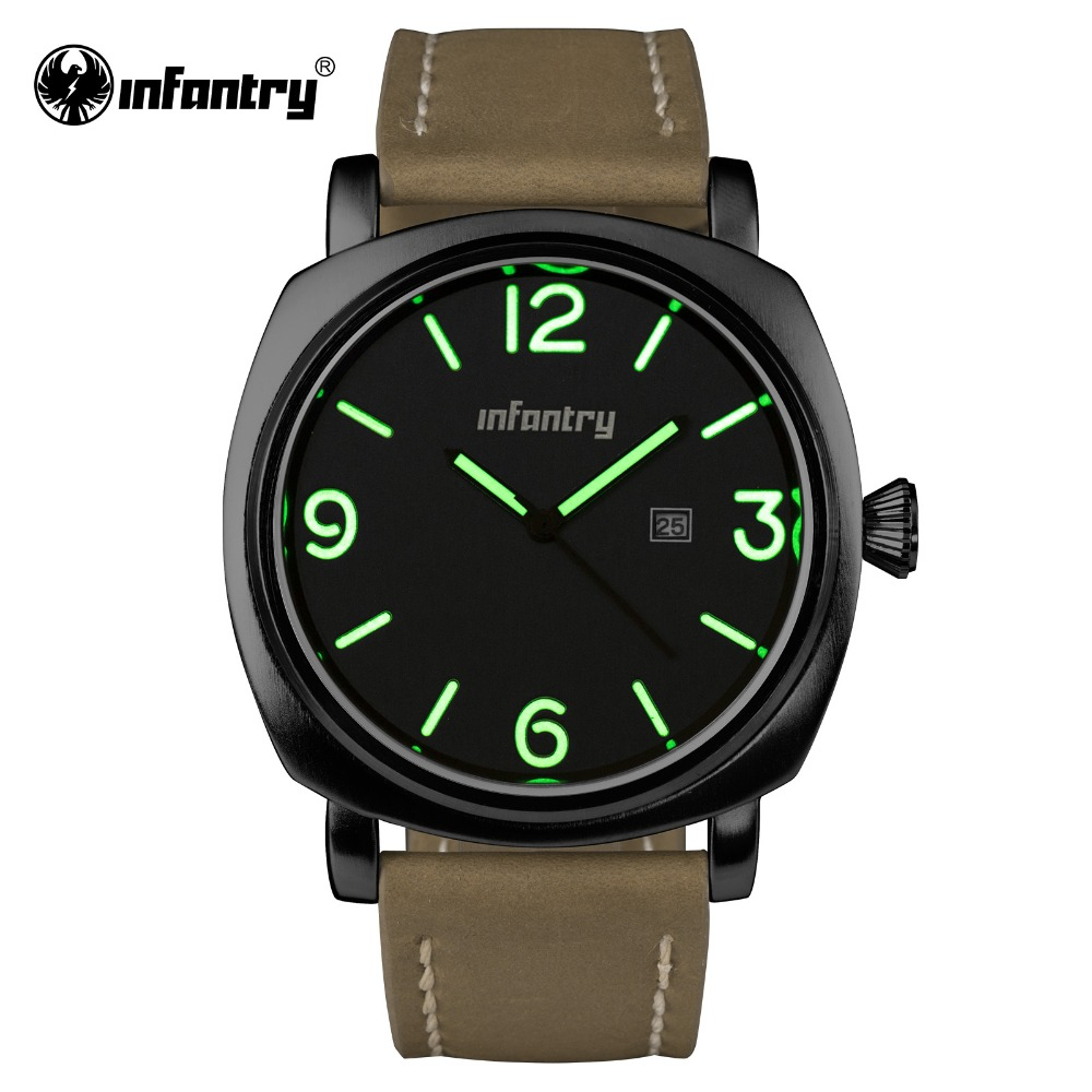 INFANTRY Mens Quartz-watch Black Stainless Steel Watches Nightvision Male Clock Genuine Leather Strap Relogio Masculino 2016(Hong Kong)