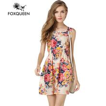 Foxqueen2017the новая мода отдыха все для летних большой код печатных рукавов шифон dress(China (Mainland))