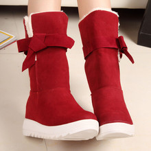 British Style Winter Snow Boots Women Fashion Warm Bowtie Ankle Casual Cotton Padded Lady Shoes Lace Famale - & Classic Luxury store