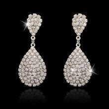 2015 New Luxury White Austrian Crystal Water Dorp Earrings for Women Large Dangle Bridal Earrings Wedding Accessories