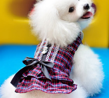 Grid Print Dog Dress with Black Bow Scotland Style Puppy Doggie Summer Clothes Skirt XS-XL